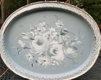 Blue Grey Floral Tray