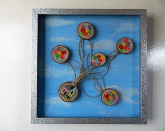 Disney Up Inspired Balloon House on Wood Slice in a Box Frame
