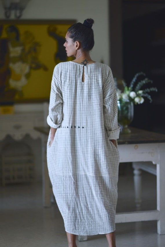 Long Organic Embroidery Stripes Charcoal Dress Frankfurt Kala Cotton amp; With ZpqP1Ax