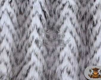 "Faux Fur Long Pile CHEVRON LION Grey Fabric / 60"" Wide / Sold by the yard"