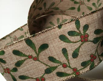 Ribbon By the Yard  Wired Burlap Ribbon with Holly