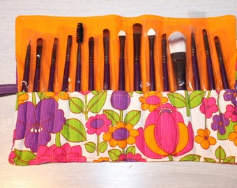 for 15 brushes makeup bag, sold with brushes, pretty colorful flowers