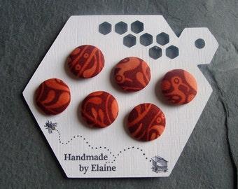Fabric Covered Buttons - 6 x 19mm Buttons, Handmade Button, Brick Red Burnt Umber Sienna Dark Orange Renaissance Bird Abstract Buttons, 2474