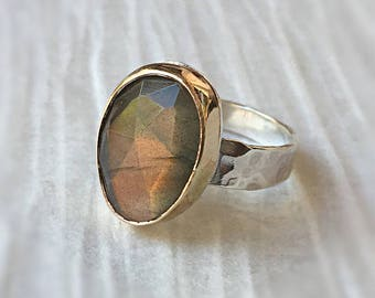 Gold Labradorite Ring, 14kt Gold Filled and Silver,  Gemstone Ring, Statement Ring, Sterling Silver Ring, Gift for Her