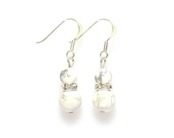 white howlite earrings howlite earrings womens earrings white earrings earrings gemstone earrings drop earrings wedding jewelry