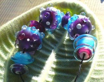 Lampwork beads/SRA lampwork/beads/glass beads/purple/blue/