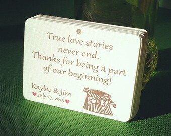 """30 Personalized Favor Tags, 2.5"""", Die cut tags, Wedding tags, Thank You tags, Favor tags, Gift tags"""