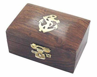 Small maritime wooden box- anchoring brass hinges