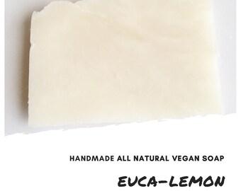 Euca-Lemon Handmade Soap Bar,  Exfoliating Soap Bar, All Natural Soap, Handmade Soap, Unscented Soap, Cold Process Soap, Vegan Soap