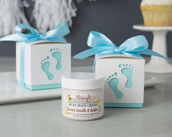 Boy Baby Shower Favors - Body Lotion Shower Favors - Footprint - From My Shower to Yours - Blue - Baby Boy - Baby Sprinkle Favors for Guests