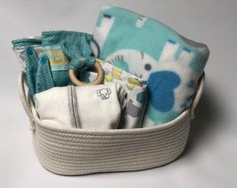 Elephant baby girl gift basket etsy baby girl or boy elephant gift basket neutral baby basket elephant baby gift basket negle Images