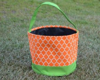 Personalized Halloween Trick or Treat Bucket-Orange Quatrefoil