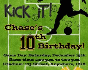 Soccer Birthday Party Invitation - Yellow