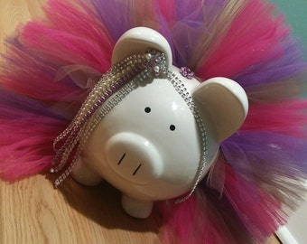 Large Pink, Purple and Brown Diamonds and Pearls Tutu Piggy Bank