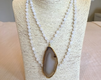 moonstone knotted necklace w/ agate
