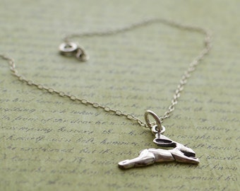 Sterling Silver 925 leaping hare pendant necklace