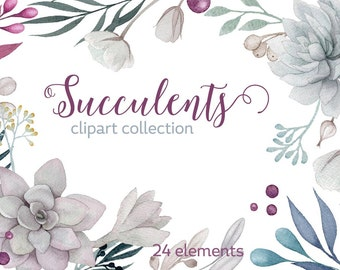 Watercolour Succulent clipart, wedding clip art, flower elements, digital watercolor, Wedding flowers, boho flowers, invitation clip art