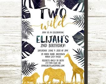 Jungle Safari Birthday Invitation, Lion Elephant Giraffe Animals Two Wild Birthday Party, Tropical Gold Black Modern Printable Invitation