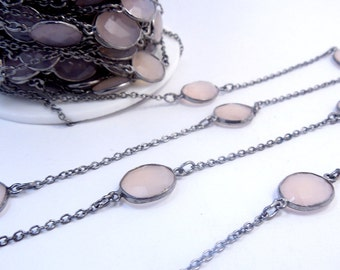 Rose Pink Chalcedony Connectors set in Oxidized Silver Bezels on Oxidized Silver Plated Link Chain (CHN-362)