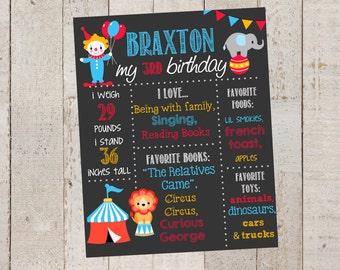 First Birthday Chalkboard- Circus Birthday Sign-Circus- Chalkboard Stats--Custom Digital File-- Girl/Boy Birthday- First Birthday