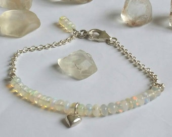 Glowing Love natural Wello Opal gemstone and fine silver heart bracelet