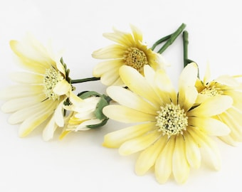Pale Yellow Daisy Picks | Flower Crown | Millinery Flowers | Artificial Daisies | Wedding Halo | Wreath Flowers | The Blue Hutch