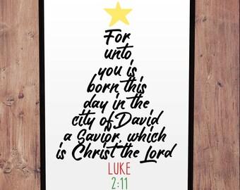 Christmas Bible Quote Art - Instant Printable Digital Artwork