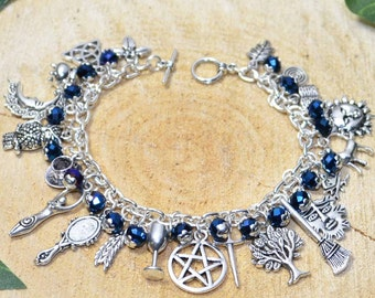 Witches Charm Bracelet - Midnight Rite - Handmade Pagan Jewellery for Wicca, Witch