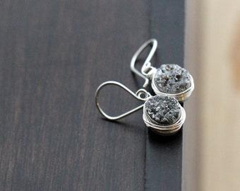 Druzy Silver Earrings, Gray Dangle Bezel Wrapped Oval Drops In Sterling Silver, Gifts For Her