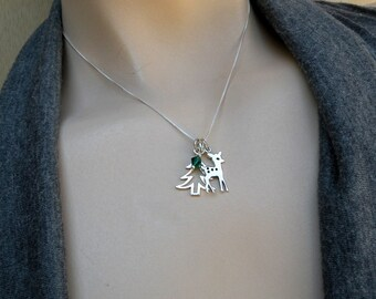 Fawn necklace, Pine tree necklace, Deer and tree necklace, Christmas necklace