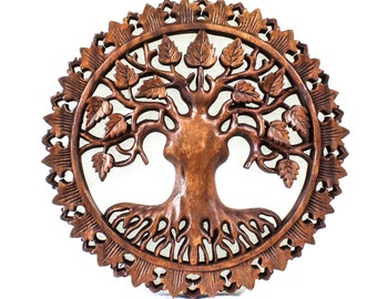 Balinese Wood Carving - Round Rebirth Tree