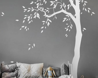 WHITE Tree decal Large nursery tree vinyl wall art Wall Mural sticker Kids room decor Nature Tree wall tattoo  AM041