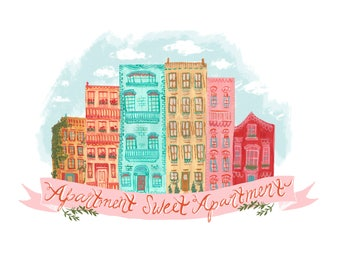 Apartment Sweet Apartment Art Print, Gouache Illustration, New Home Print, Wall Decor, Wall Art