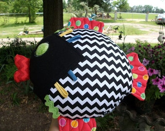 Chevron Baby 'Bubbles' Great for Infants Fish Rattle Squeaky Toy or Pillow