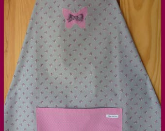 """""""My Butterfly""""gray with small pink flowers apron"""