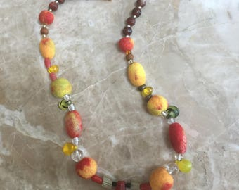 Felted and Vintage Bead Necklace, On Fire