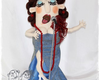 Opera Singer Doll, Collectible doll, Microphone, Theatre and stage.