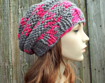 Hot Pink and Grey Knit Hat Grey Womens Hat - Original Beehive Beret - Grey Hat Grey Beret Grey Beanie Grey Winter Hat - READY TO SHIP