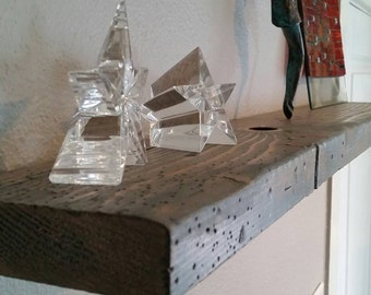 Faux Reclaimed Wood Floating Shelf (Blue/Gray Stain)