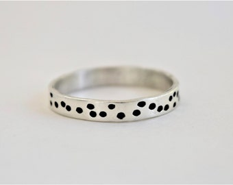 Sterling Silver Ring - Dots - Hand Stamped Ring - Whimsical - Modern - Simple