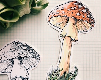 Fungi Hand Cut Coloring Stickers Set Of 3