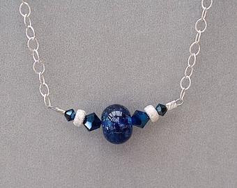 Dark Blue Necklace with Swarovski Crystals on Sterling Silver - Minimalist Necklace - Artisan Jewelry