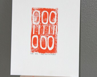 Abstract Modern Orange industrial linocut art print in 9x12