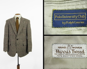 Vintage Ralph Lauren Harris Tweed Jacket Houndstooth Overcheck Brown Sport Coat - 40 L