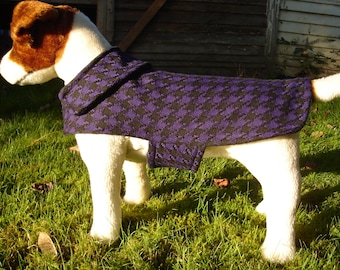 Royal Purple and Black Houndstooth Dog Coat- Size Small- 12-14 Inch Back Length