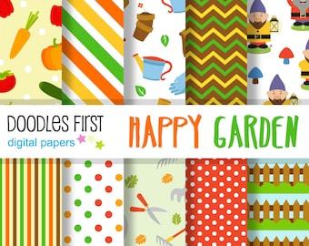Happy Garden Digital Paper Pack Includes 10 for Scrapbooking Paper Crafts