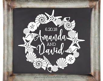 Beach Wedding Decal, make your own sign, seashell wreath with bride and groom names, personalized wedding sticker, mermaid theme wedding art