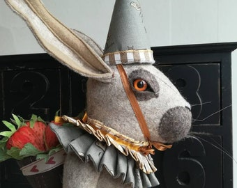 """Textile Soft Sculpture Of A Hare """"Kollebloem and The Field Of Strawberries"""" Art Doll Curiosity Faux Taxidermy"""