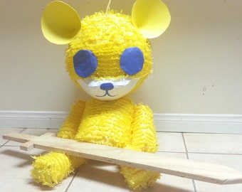 Puppet Yellow Bear Pinata Inspired By USC Bruins | University Party Time Decor | Fun Prop | University Of Southern California Art Work