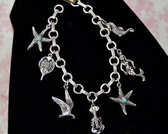 Vintage Charm Bracelet in Silver-Tone Metal with Sea Life Charms and Faux Turquoise Beads